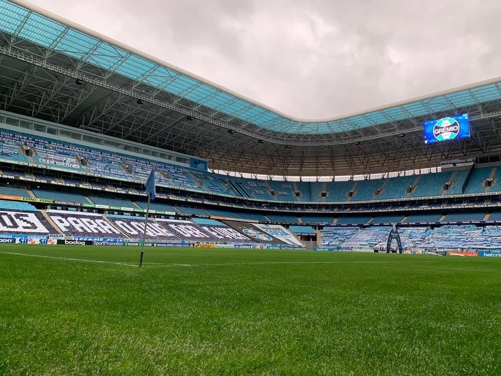 Gramado da Arena apresentou boa qualidade na retomada — Foto: Lucas Bubols
