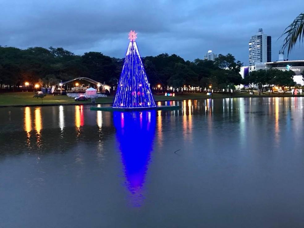 Árvore de Natal feita com garrafas pet é inaugurada no Parque Vaca Brava (Foto: Reprodução/Facebook)