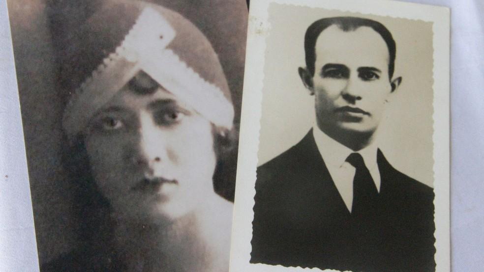 Anayde Beiriz e João Dantas, em fotos guardadas pela sobrinha da poetisa — Foto: Dani Fechine/G1