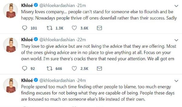 As lamentações de Khloé Kardashian sobre os comentários de seus seguidores tratando de sua vida pessoal (Foto: Twitter)
