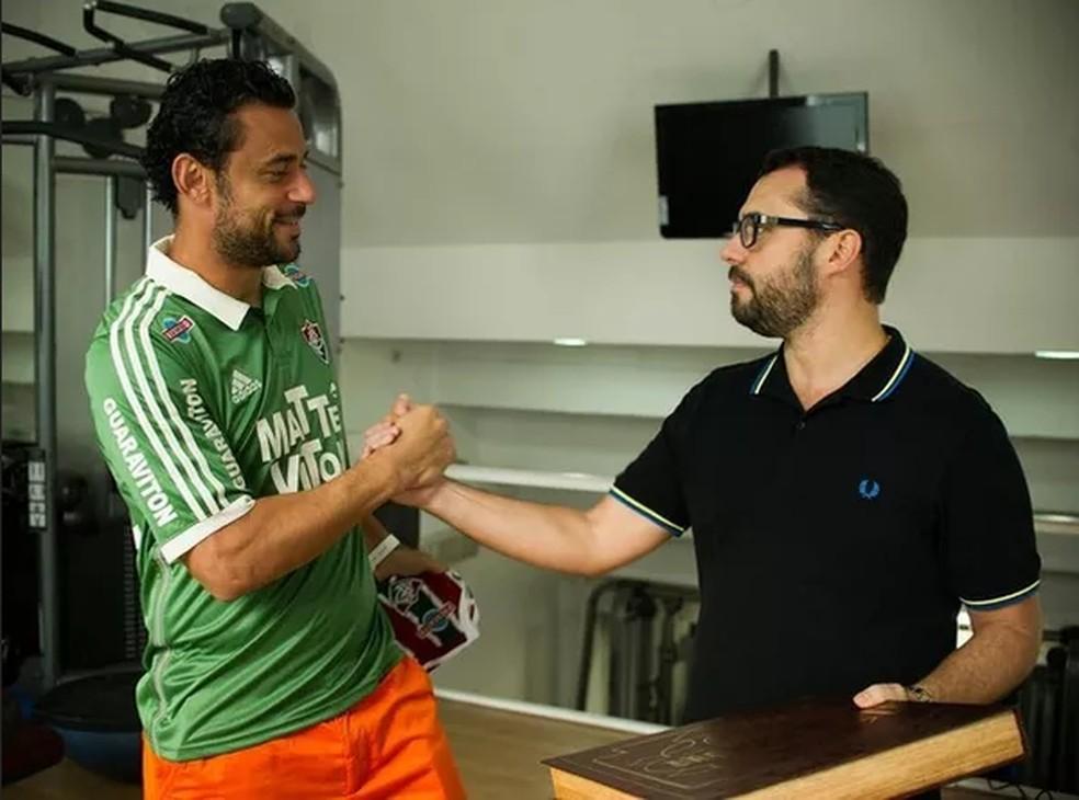 Fred e Mario Bittencourt durante passagem dos dois pelo Fluminense — Foto: Reprodução / Instagram
