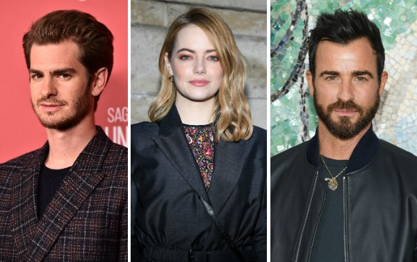 Andrew Garfield, Emma Stone e Justin Theroux (Foto: Getty Images)