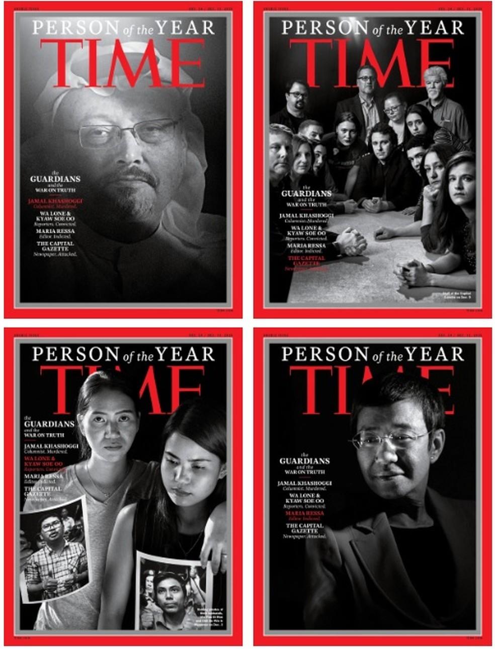 Capas da Time com a Personalidade do Ano em 2018 — Foto: Reprodução/ Time