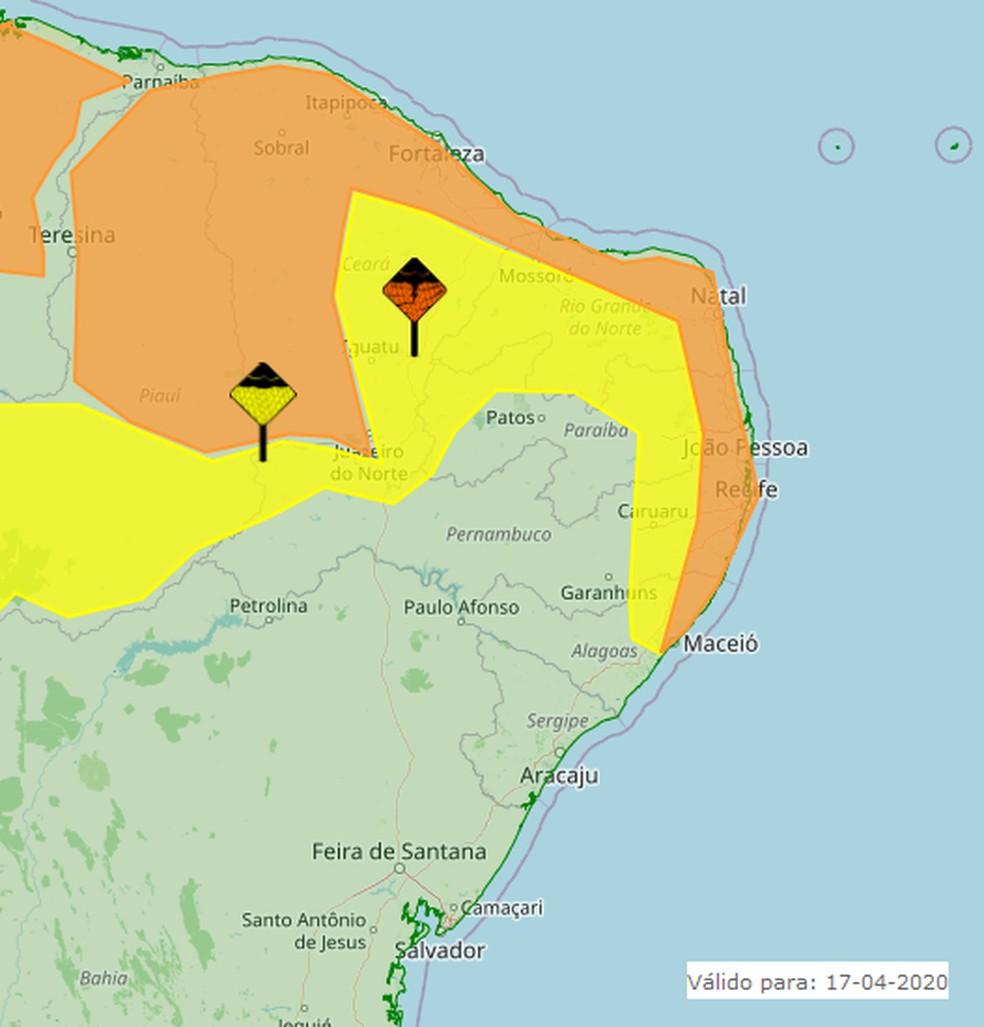 Rio Grande do Norte tem alerta de chuvas fortes até às 11h deste sábado (18) — Foto: Inmet/Divulgação