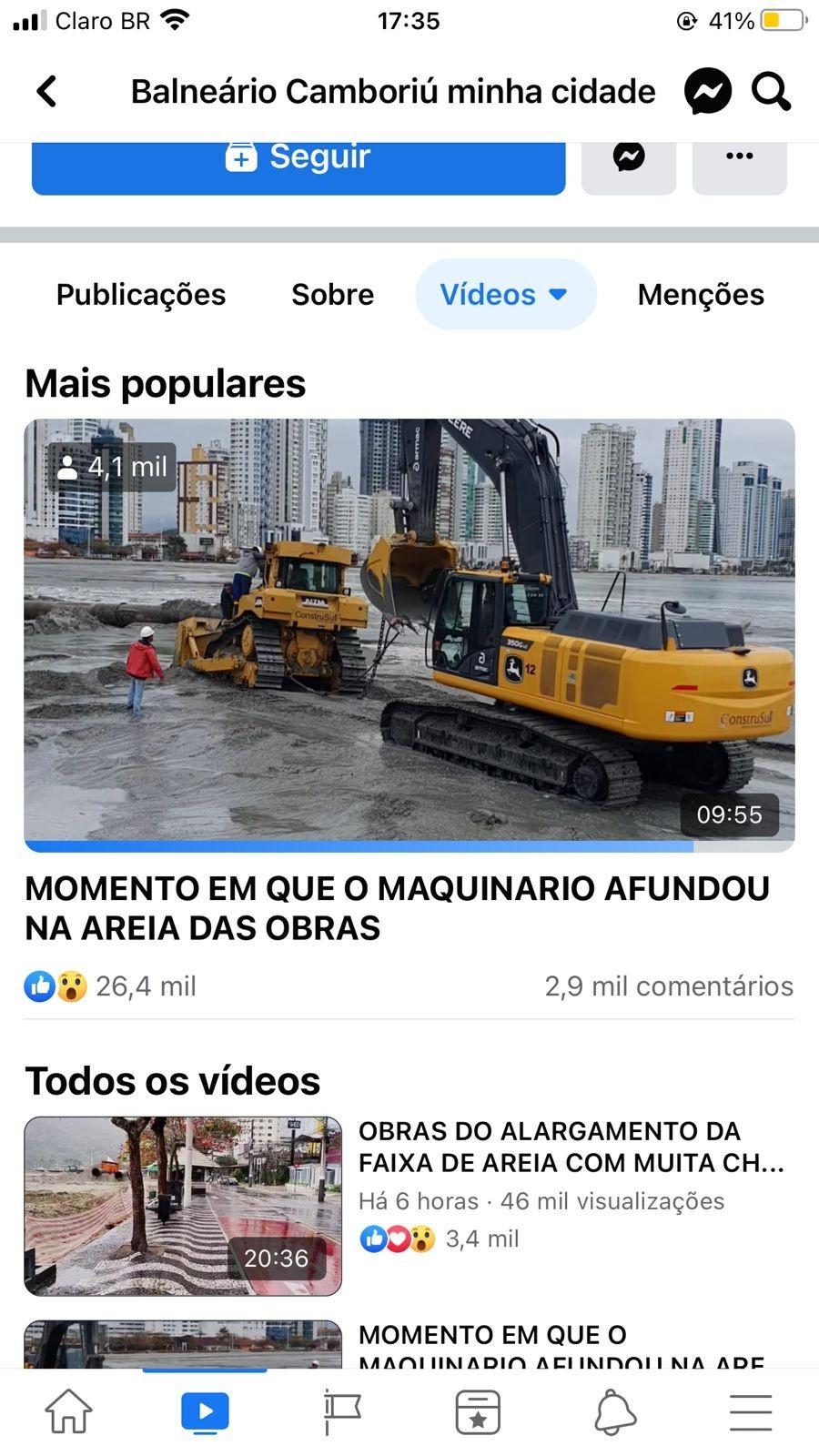 Vídeo mostra máquina sendo 'engolida' pela areia durante obra de alargamento em Balneário Camboriú
