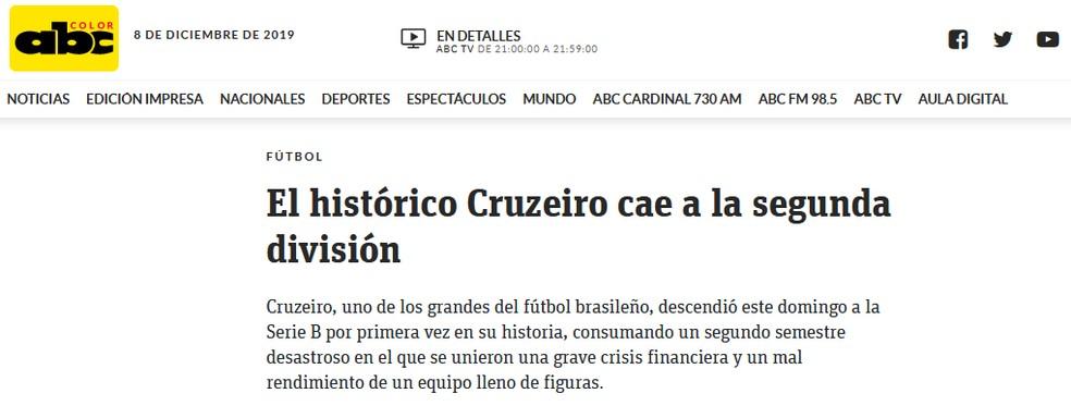ABC Color, do Paraguai, repercute rebaixamento do Cruzeiro — Foto: Reprodução