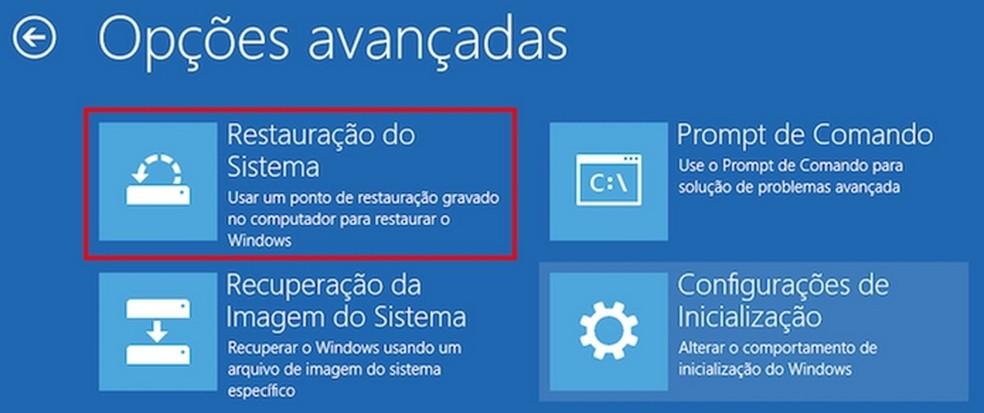 Restauração do sistema a partir da ferramenta de reparo automático do Windows 10 (Foto: Edivaldo Brito/TechTudo)