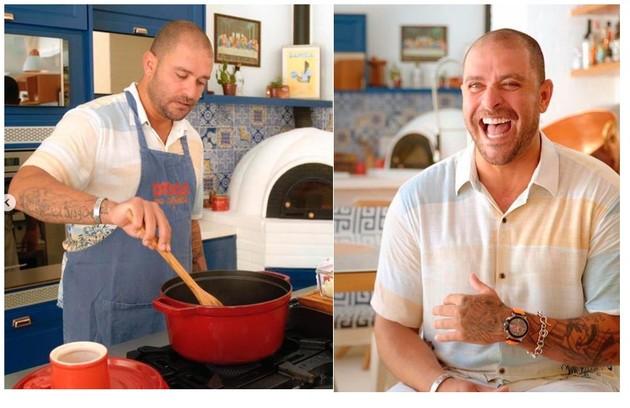 Diogo Nogueira ama cozinhar. O cantor mostra nas suas redes sociais suas habilidades na cozinha de sua casa, na Zona Oeste do Rio (Foto: Reprodução)