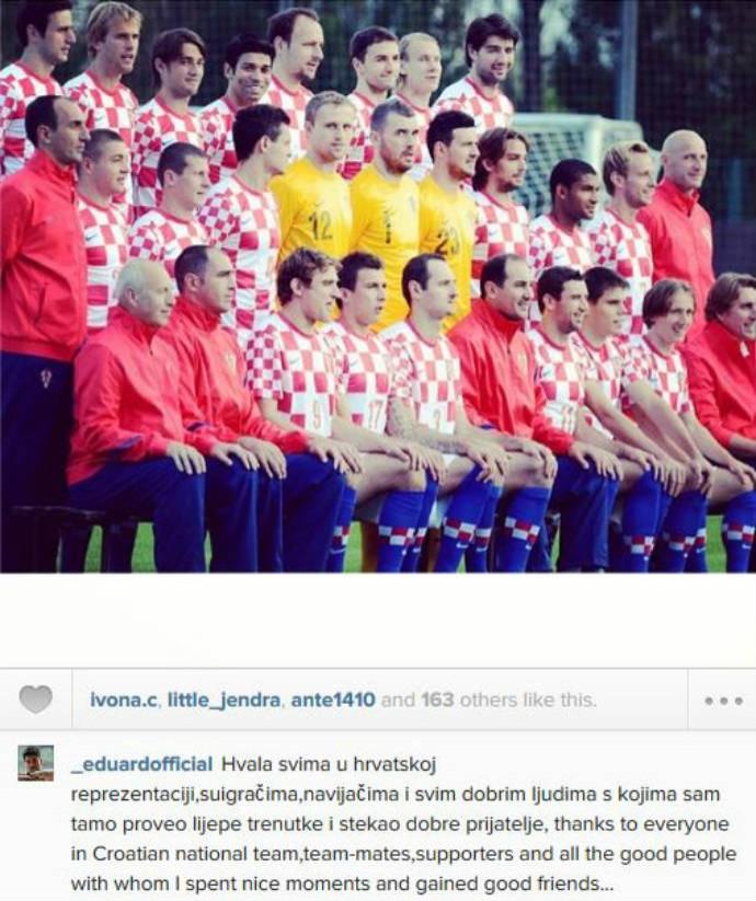 Perto de acerto com o Fla, Eduardo da Silva se despede da seleção croata