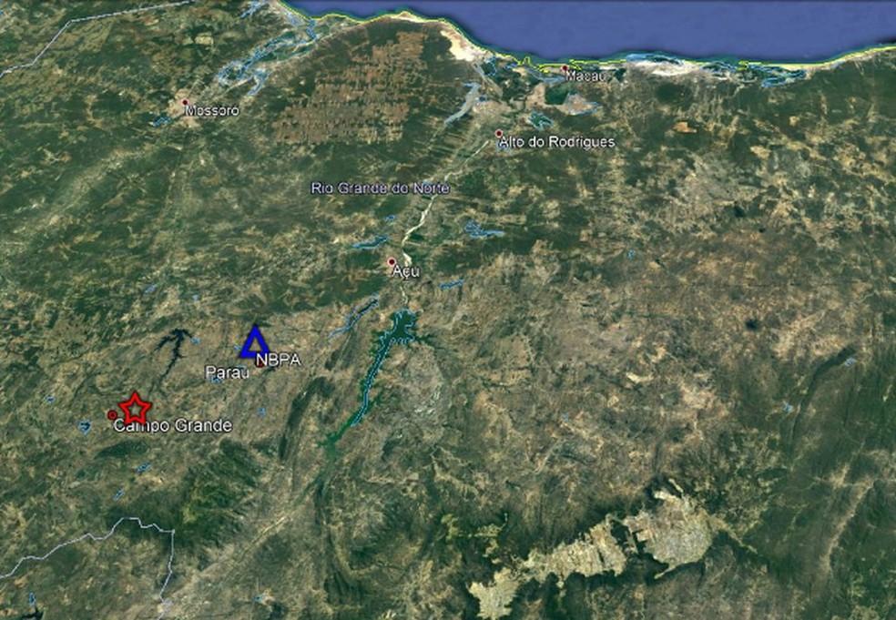 Estrela mostra local do epicentro dos tremores, próximo ao centro do município de Campo Grande, RN — Foto: LabSis/Divulgação