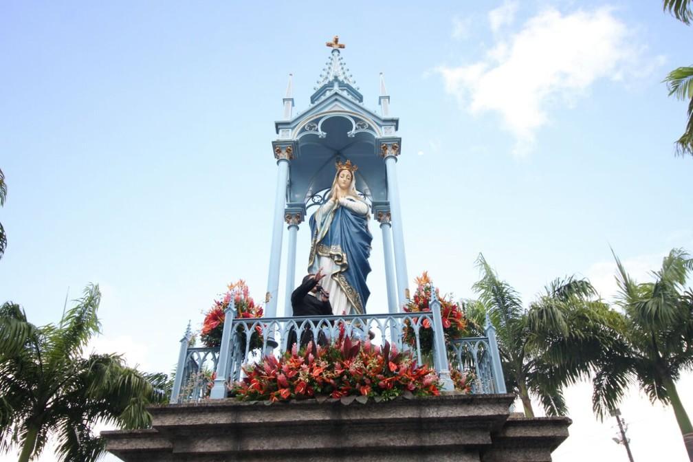 Imagem de Nossa Senhora da Conceição foi inaugurada em 8 de dezembro de 1904 — Foto: Marlon Costa/Pernambuco Press