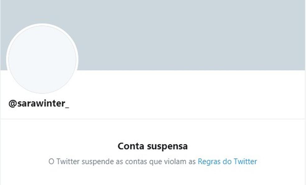 Nova conta de Sara Giromini no Twitter é retirada do ar por violar as regras da rede social — Foto: Reprodução/Twitter