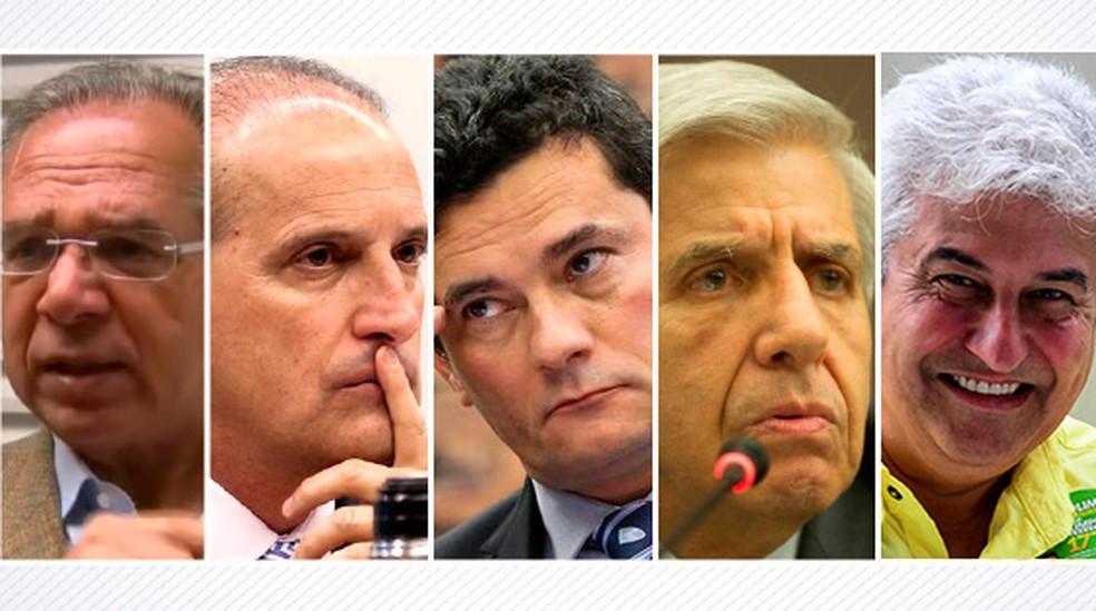 montagem 02: ministros já definidos por Bolsonaro — Foto: Arte G1