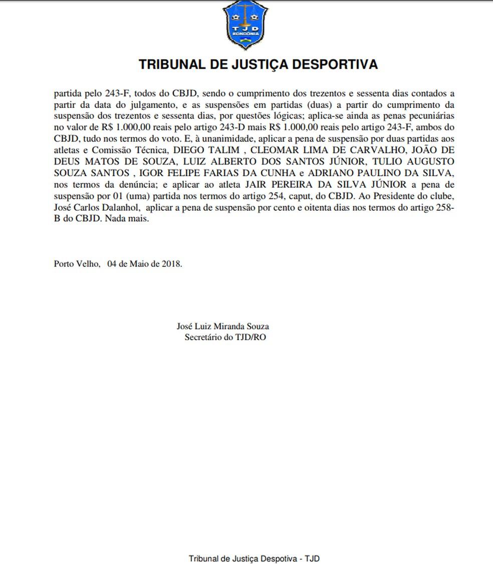 Súmula do Tribunal de Justiça Desportiva — Foto: FFER/ Reprodução
