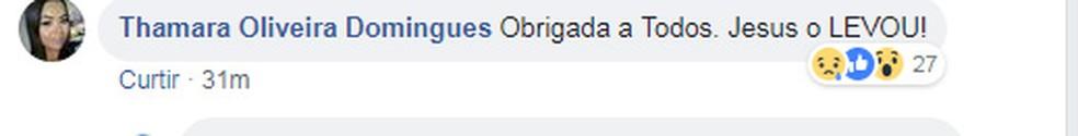 Post de filha de Mr. Catra fala da morte do cantor (Foto: Reprodução/ Facebook Thamara Oliveira)