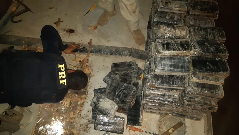 Cocaína apreendida em Pontes e Lacerda — Foto: Polícia Rodoviária Federal de Mato Grosso