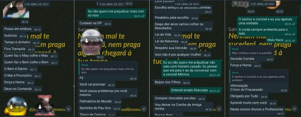 Sequência de mensagens recebidas pela soldado quando comandante descobriu que ela não iria à encontro  — Foto: G1 Santos