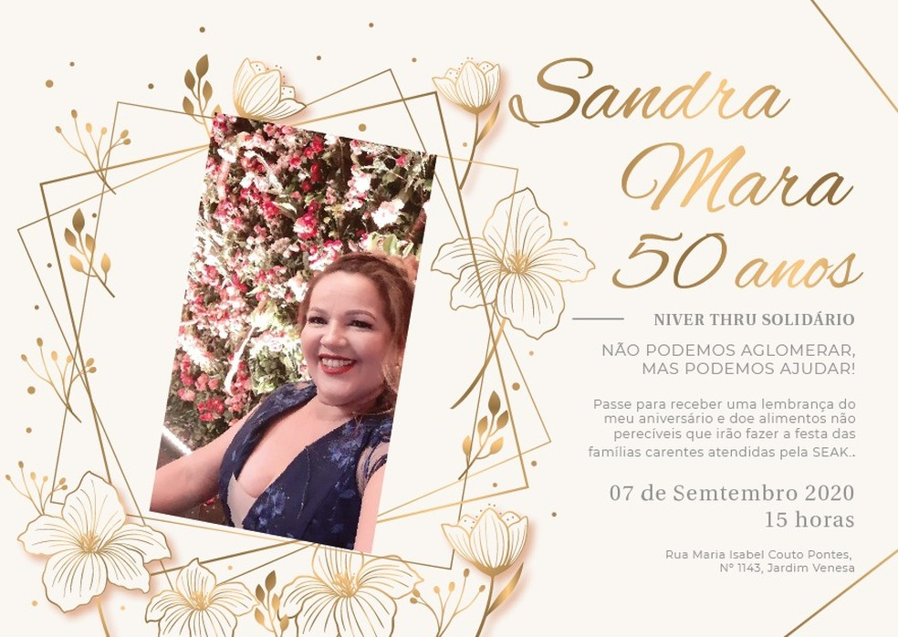 Convite da festa solidária  — Foto: Sandra Mara/Divulgação