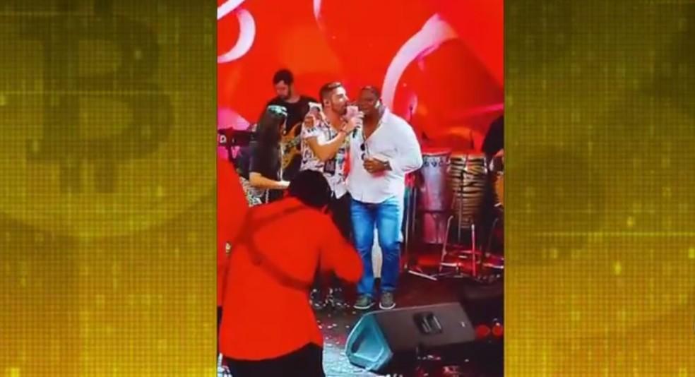 Aniversário de Glaidson, em fevereiro deste ano, teve show do cantor João Gabriel — Foto: Reprodução/ TV Globo