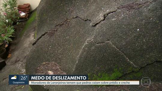 Rachaduras em pedra perto de prédio e creche assustam moradores de Laranjeiras