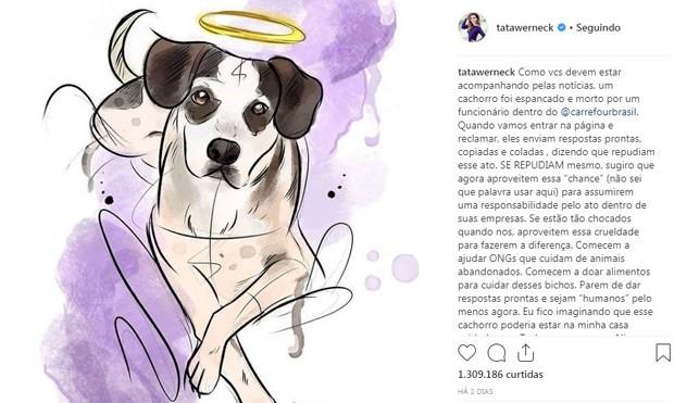 Post de Tatá Werneck sobre a morte do cão (Foto: Reprodução/Instagram)