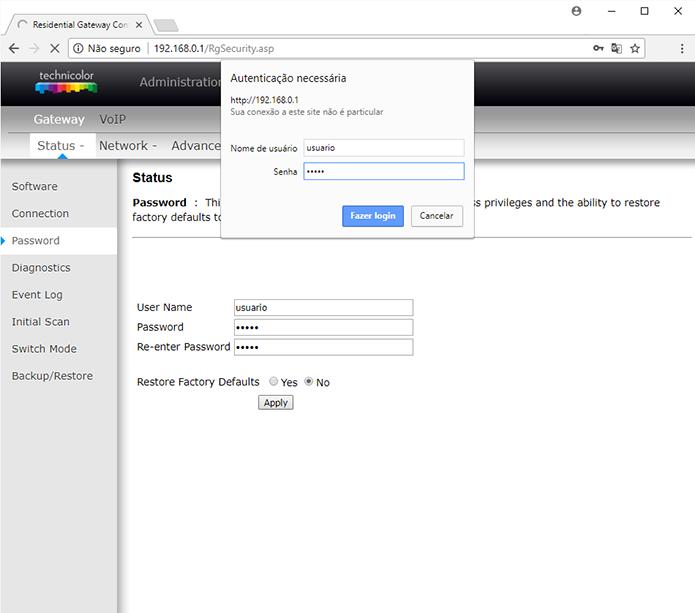 Como mudar o login de usuário e senha do roteador