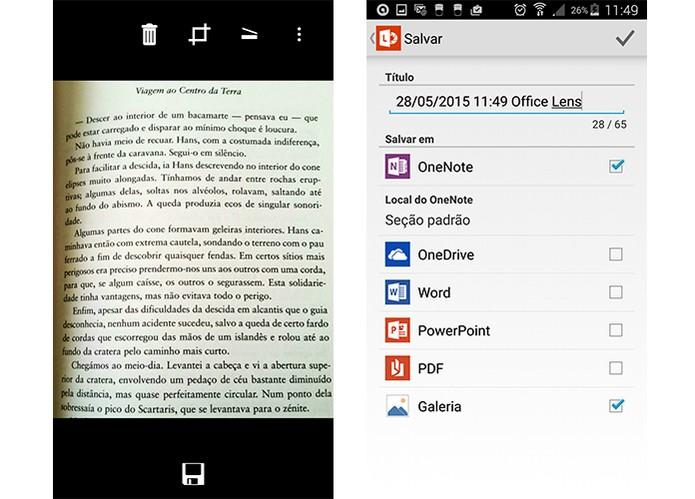 Office Lens permite exportar para programas do pacote Office, PDF, enviar para OneDrive e mais (Foto: Reprodução/Barbara Mannara)