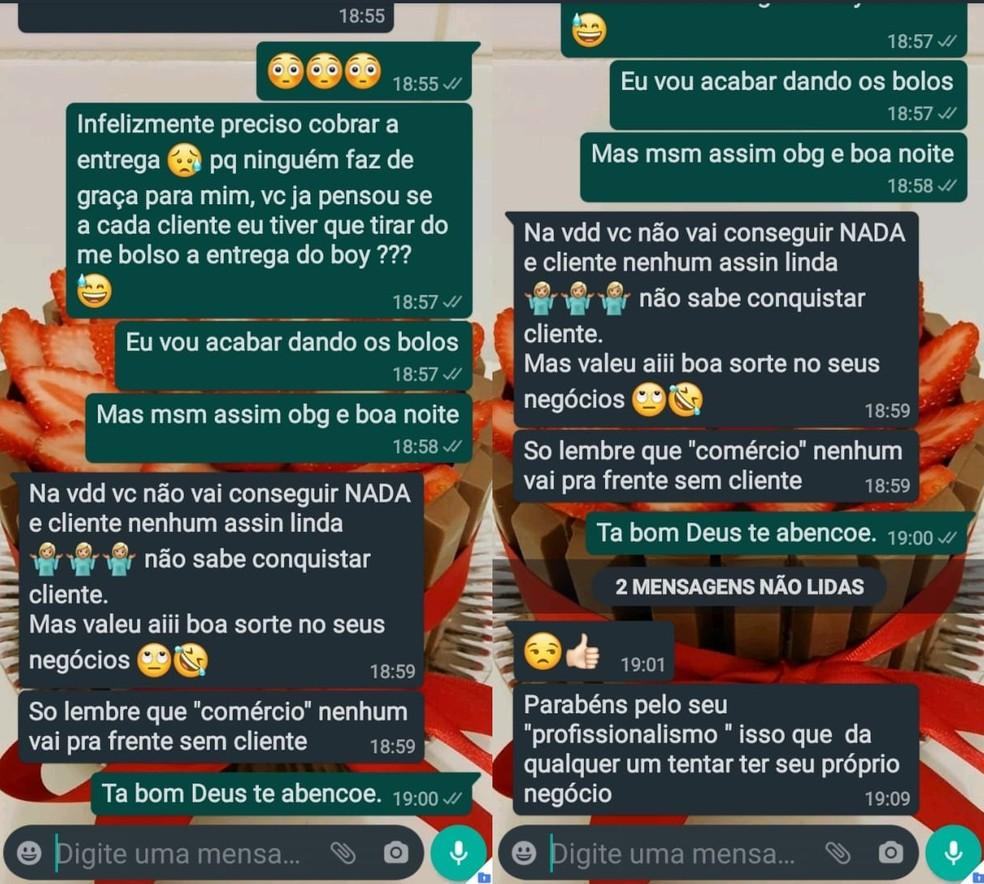 Desabafo viralizou nas redes sociais após conversa de confeiteira com cliente em Marília — Foto: WhatsApp/Reprodução