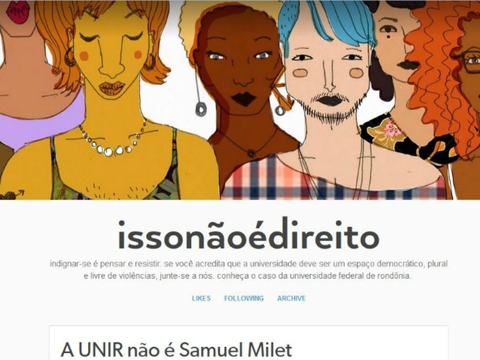Alunos da Unir fizeram uma página em uma rede social para acompanhar o caso e todos os desdobramentos  — Foto: Tumblr/Reprodução