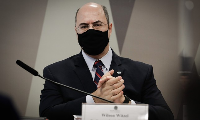 O ex-governador Wilson Witzel em depoimento à CPI da Covid