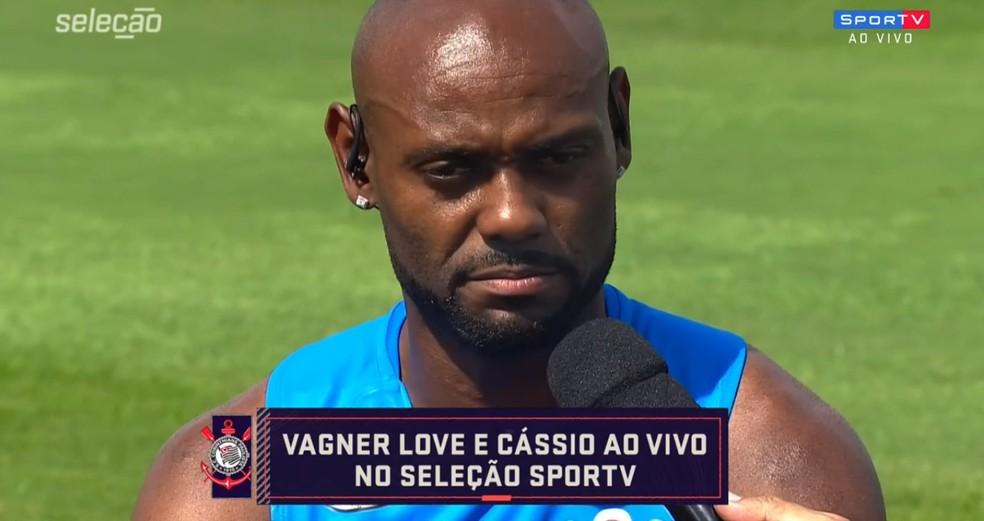 """Vagner Love cobra Rizek por comentário, e apresentador pede desculpas: """"Sinto vergonha"""" — Foto: Reprodução/Seleção SporTV"""