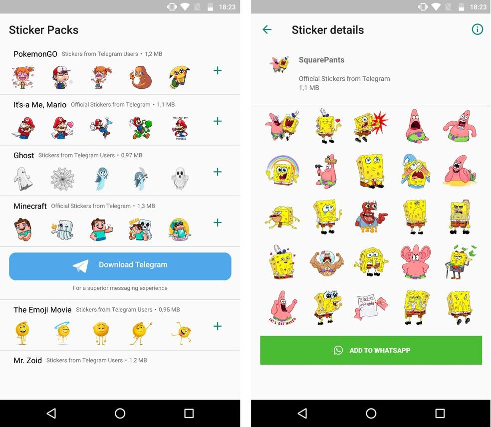 Aplicativo Adesivos para WhatsApp tem figurinhas de personagens como Super Mario, Pokémon e Bob Esponja — Foto: Reprodução/Rodrigo Fernandes