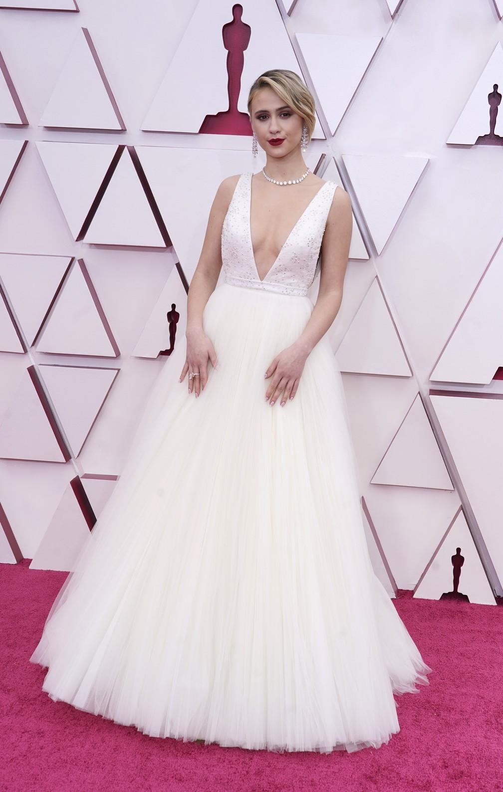 """Maria Bakalova, indicada à atriz coadjuvante por """"Borat: fita de cinema seguinte"""", no Oscar 2021 — Foto: AP Photo/Chris Pizzello"""