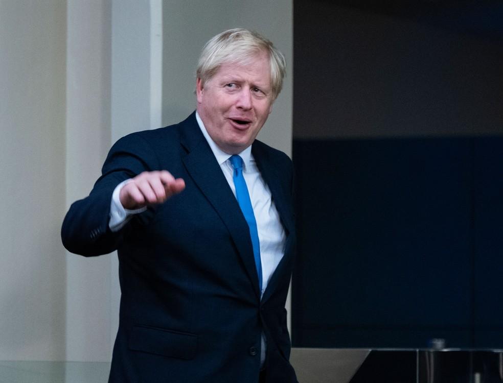 Premiê britânico, Boris Johnson, chega para a 74ª assembleia geral das Nações Unidas, em Nova York, na segunda-feira (23)  — Foto: Craig Ruttle/AP