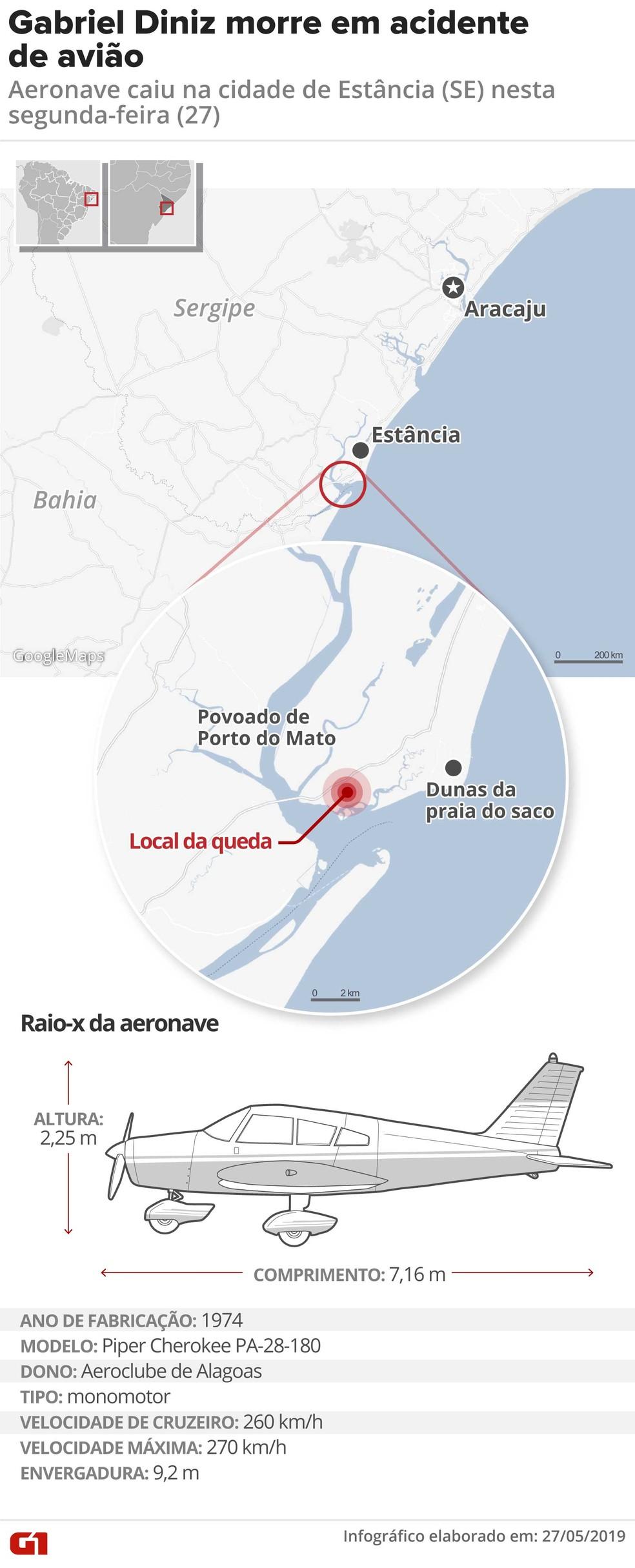 Mapa mostra local da queda de avião — Foto: Arte G1/Roberta Jaworski