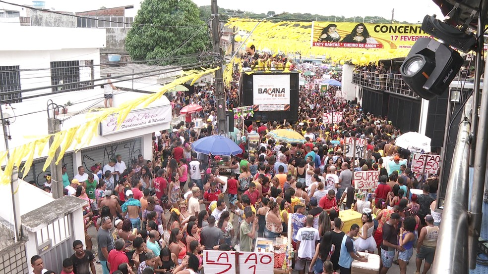 Bloco  Canário Elétrico desfilou em Camaragibe, neste domingo (17) — Foto: Reprodução/TV Globo