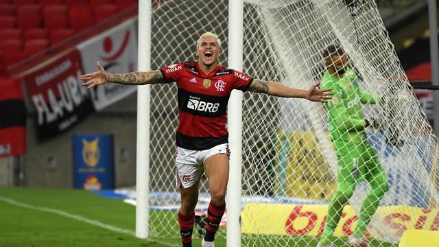 Pedro comemora gol do Flamengo contra o Palmeiras