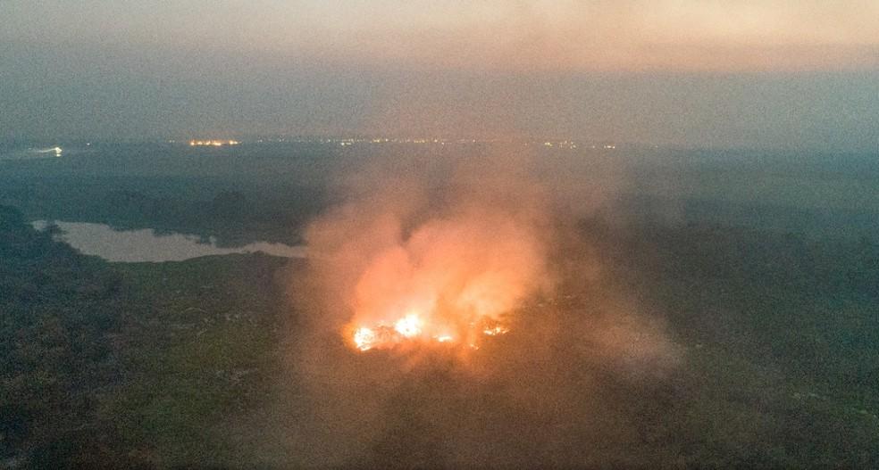 Incêndio já destruiu área do Pantanal 9 vezes do tamanho da cidade de SP. — Foto: Silas Ismael/Arquivo Pessoal