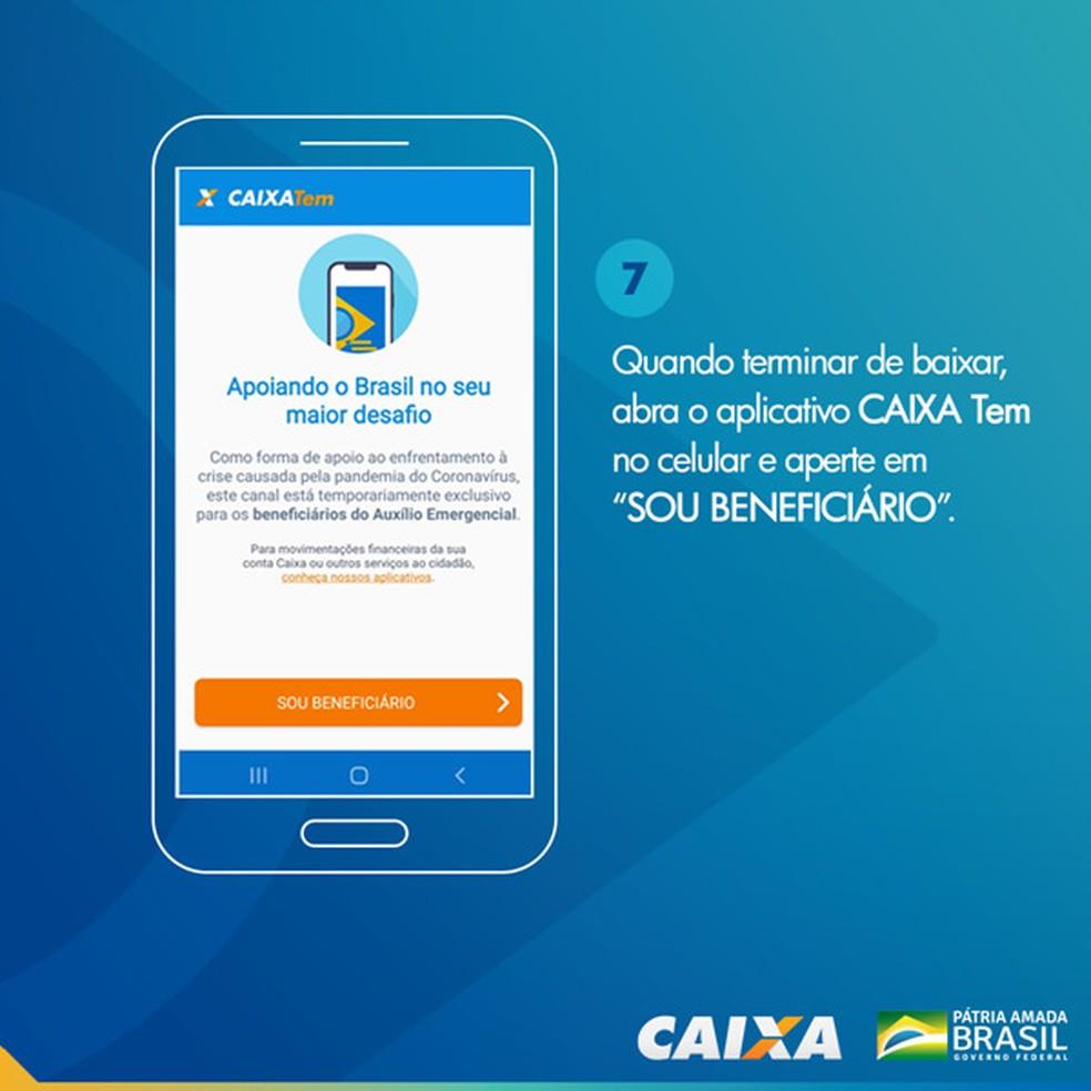 Tela 7 para pedir abertura da poupança social digital — Foto: Divulgação Caixa