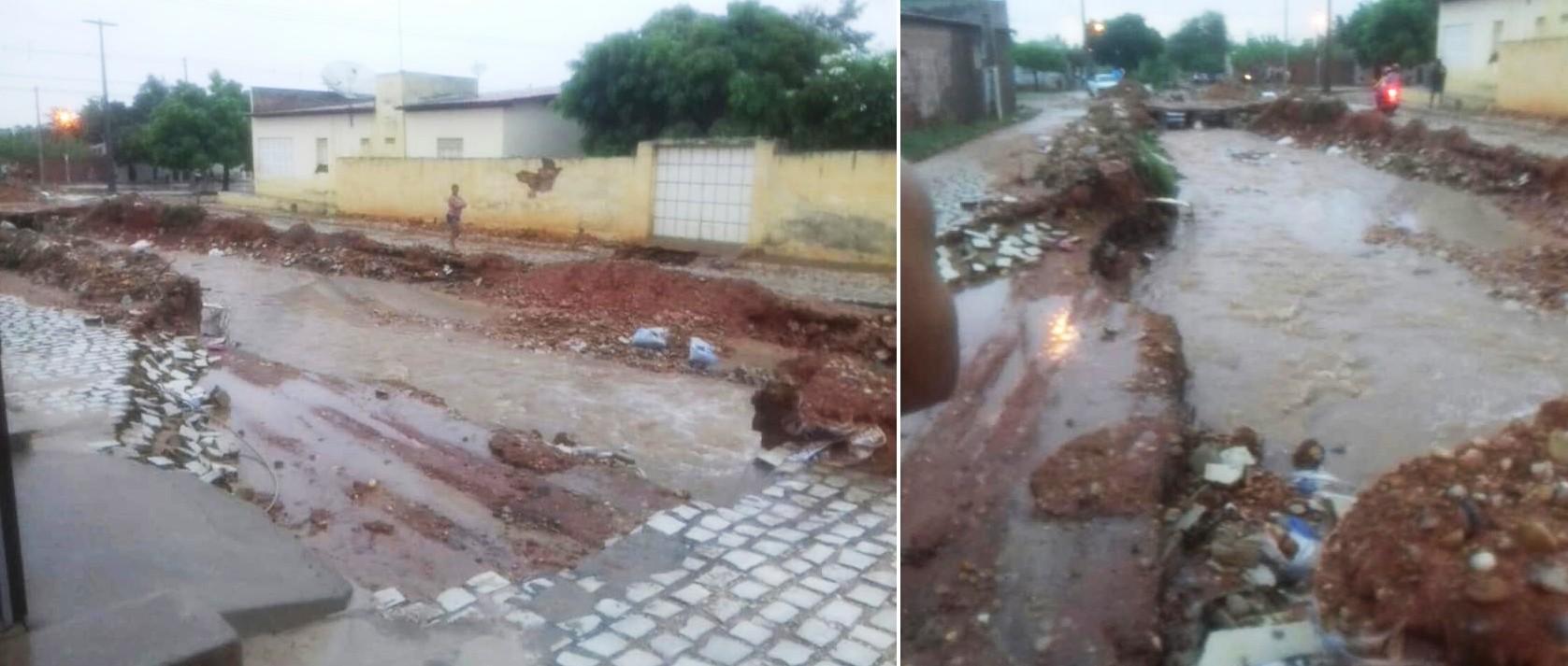 Emparn registra chuvas em 96 cidades; Em Assu, enxurrada leva calçamento e água invade casas
