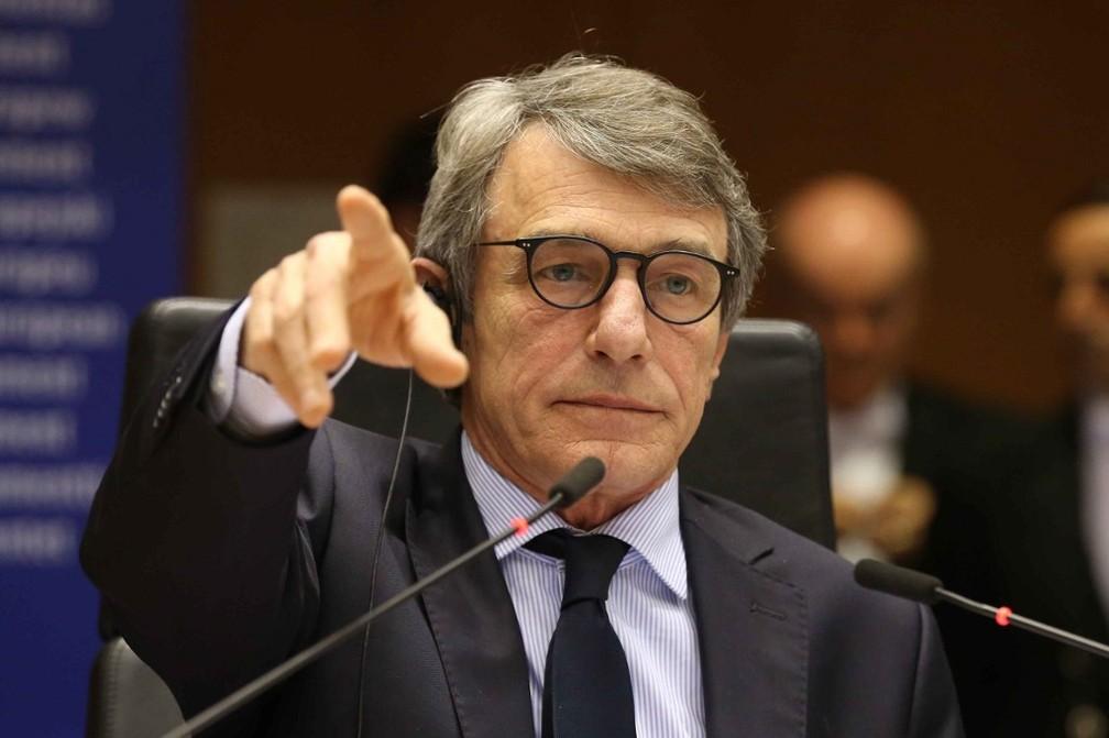 David Sassoli, presidente do Parlamento Europeu, em evento no dia 9 de março de 2020 — Foto:  François Walschaerts / AFP