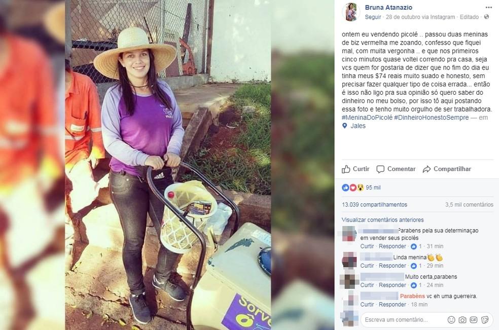 Vendedora de picolé fez a postagem falando sobre o episódio (Foto: Reprodução/Facebook)