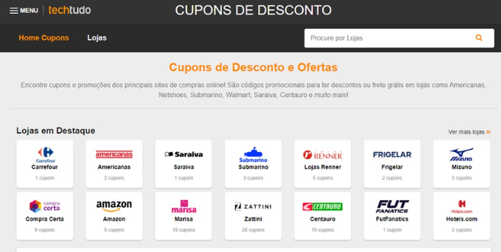 TechTudo possui seção especial que oferece cupons de desconto de diversas lojas do Brasil — Foto: Reprodução/Lívia Dâmaso