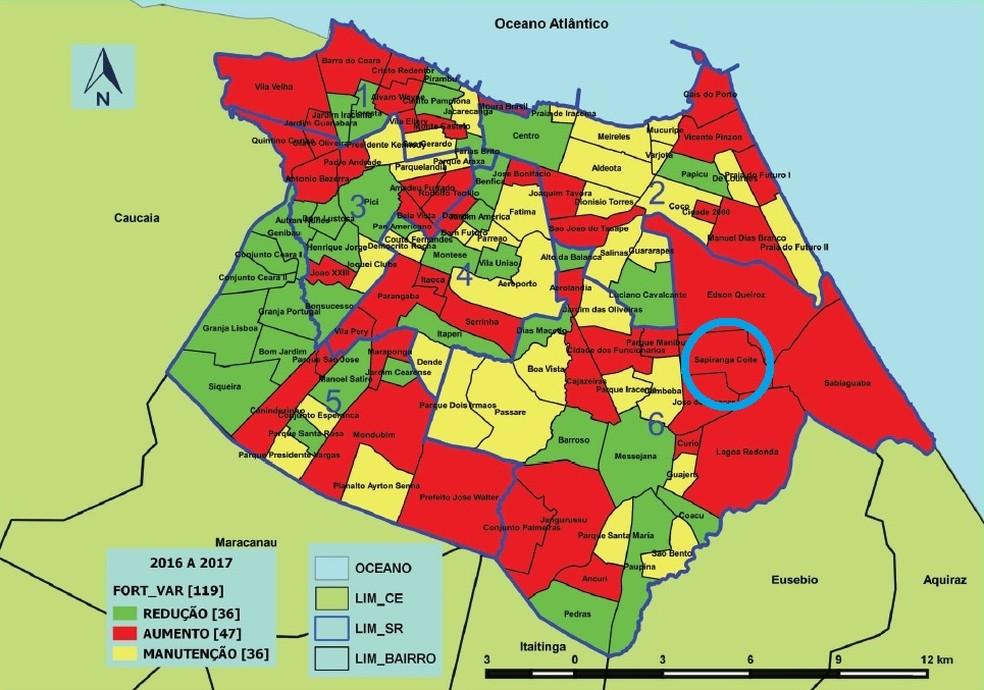 -  Sapiranga, marcado no mapa, está entre os bairros de Fortaleza onde a violência contra jovens e crianças mais cresceu  Foto: Reprodução