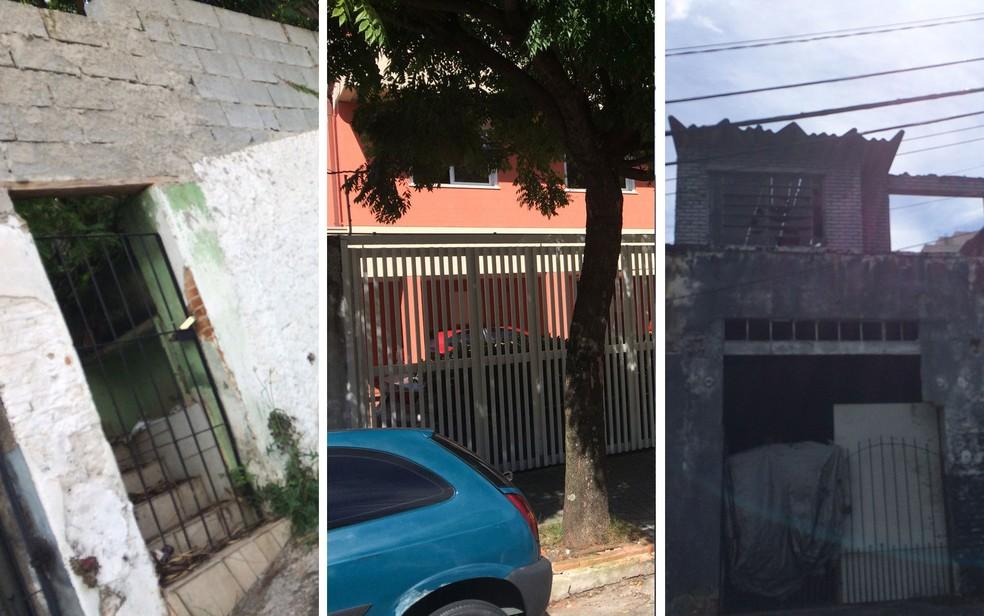 Da esquerda para a direita: casa apontada por vizinho como sendo de Gegê; imóvel onde criminoso morou em seguida; e sobrado indicado por chefe de facção para encontrá-lo. Todos imóveis na Rua Fidalga, na Vila Madalena, Zona Oeste de São Paulo (Foto: Kleber Tomaz/G1)