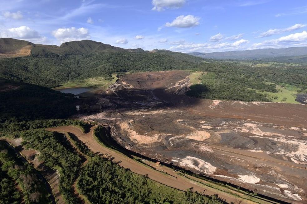 A mina do Feijão na região de Córrego do Feijão, em Brumadinho, dois dias depois do rompimento da barragem da Vale. — Foto: Douglas Magno/AFP