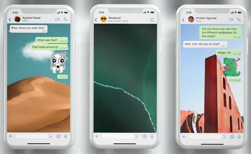 Novas opções de papel de parede do WhatsApp — Foto: Divulgação/WhatsApp