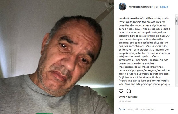 Desabafo de Humberto Martins (Foto: Reprodução / Instagram)