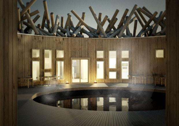 Arctic Bath, hotel flutuante na Suécia, oferece ao hóspede uma visão deslumbrante da aurora boreal  (Foto: Arctic Bath/ Divulgação)