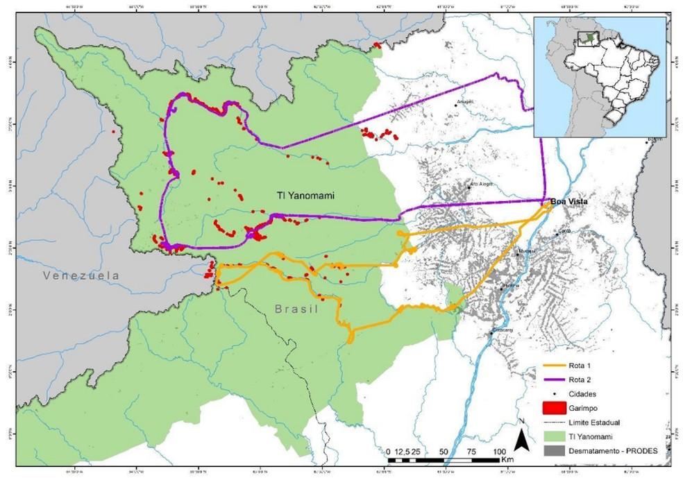 Regiões sobrevoadas sublinhadas em amarelo e roxo. Os pontos vermelhos representam as áreas de garimpos encontradas e em cinza a área já desmatada — Foto: Divulgação/HAY